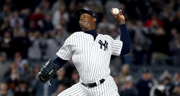 Chapman acumula 19 salvados, cuatro victorias y 64 ponches en esta temporada con los Yankees. Foto: Getty Images
