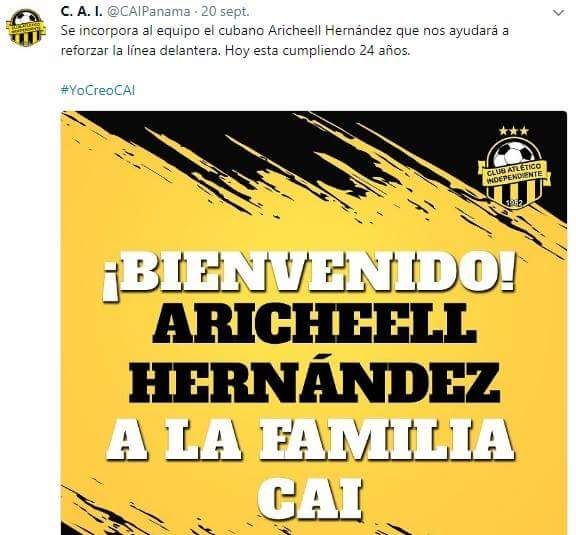 La cuenta oficial del Club Atlético Independiente de La Chorrera, oficializó el fichaje del cubano,