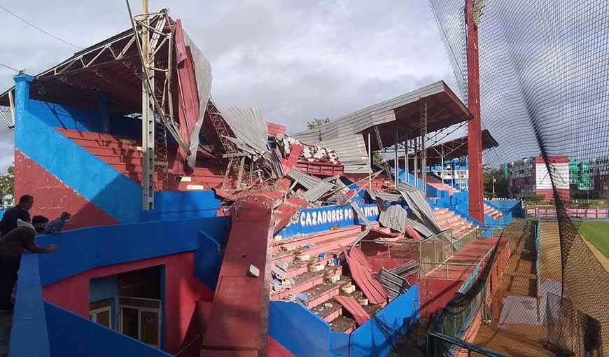 Tormenta tropical afectó seriamente al estadio del equipo Artemisa