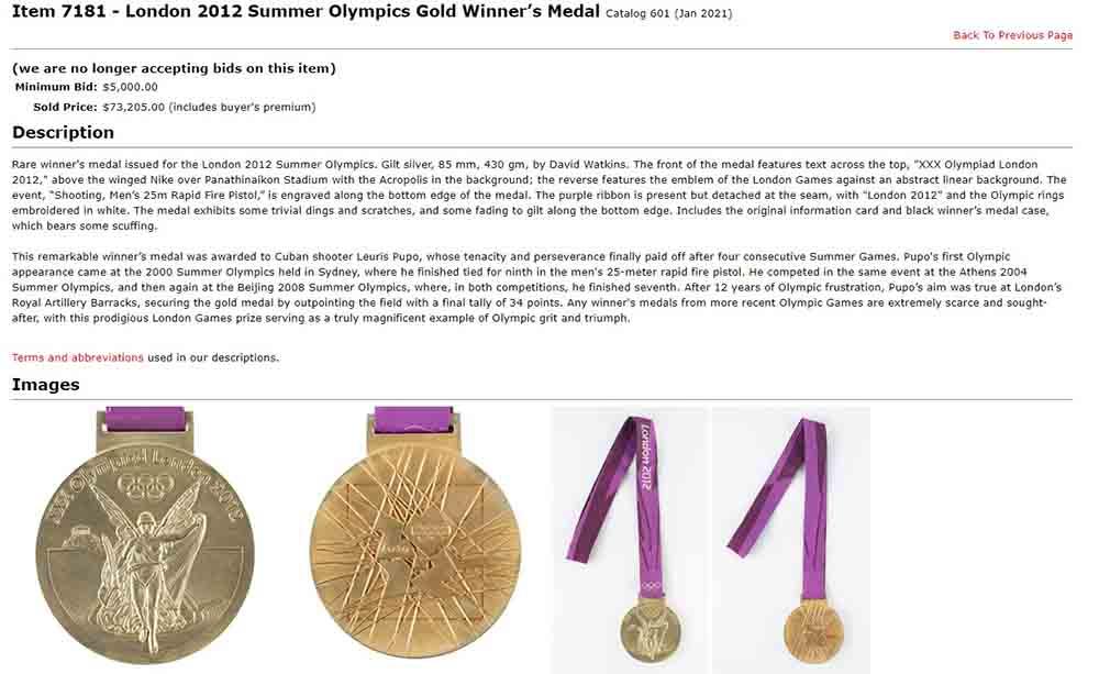 Medalla de Leuris Pupo vendida.